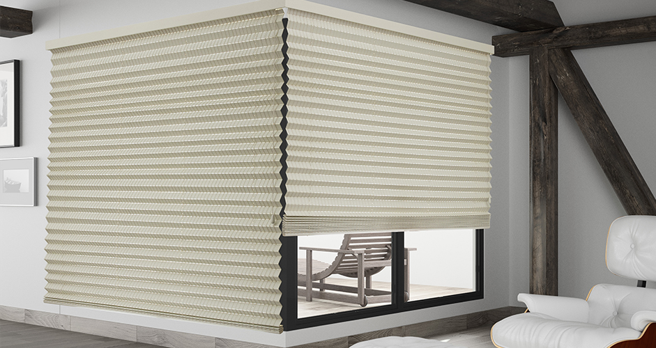 Pleated wooven wood blinds